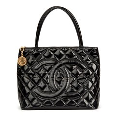 Chanel Black Quilted Patent Leather Classic Gold Medallion Tote