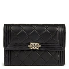 Chanel Black Quilted Lambskin Boy Flap Wallet