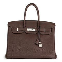 Hermès Chocolate Brown Clemence Leather Birkin 35cm