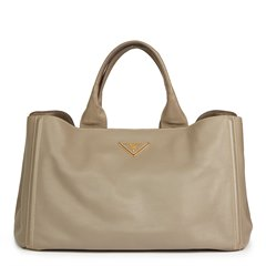 Prada Taupe Grained Calfskin Leather Canapa Tote
