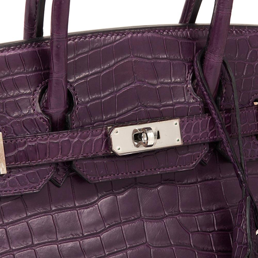 f1398e2922 Hermès Amethyst Matte Porosus Crocodile Leather Birkin 30cm