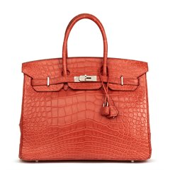 Hermès Rouge Indienne Matte Alligator Leather Birkin 35cm