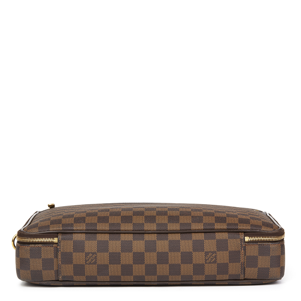 LOUIS VUITTON BROWN DAMIER EBENE COATED CANVAS SABANA COMPUTER CASE ... b242783da44a7