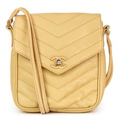 Chanel Beige Chevron Quilted Caviar Leather Classic Single Flap Bag