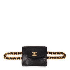 Chanel Black Quilted Lambskin Vintage Classic Belt Bag