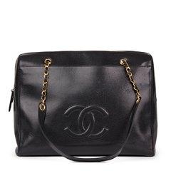 Chanel Black Caviar Leather Vintage Timeless Shoulder Bag