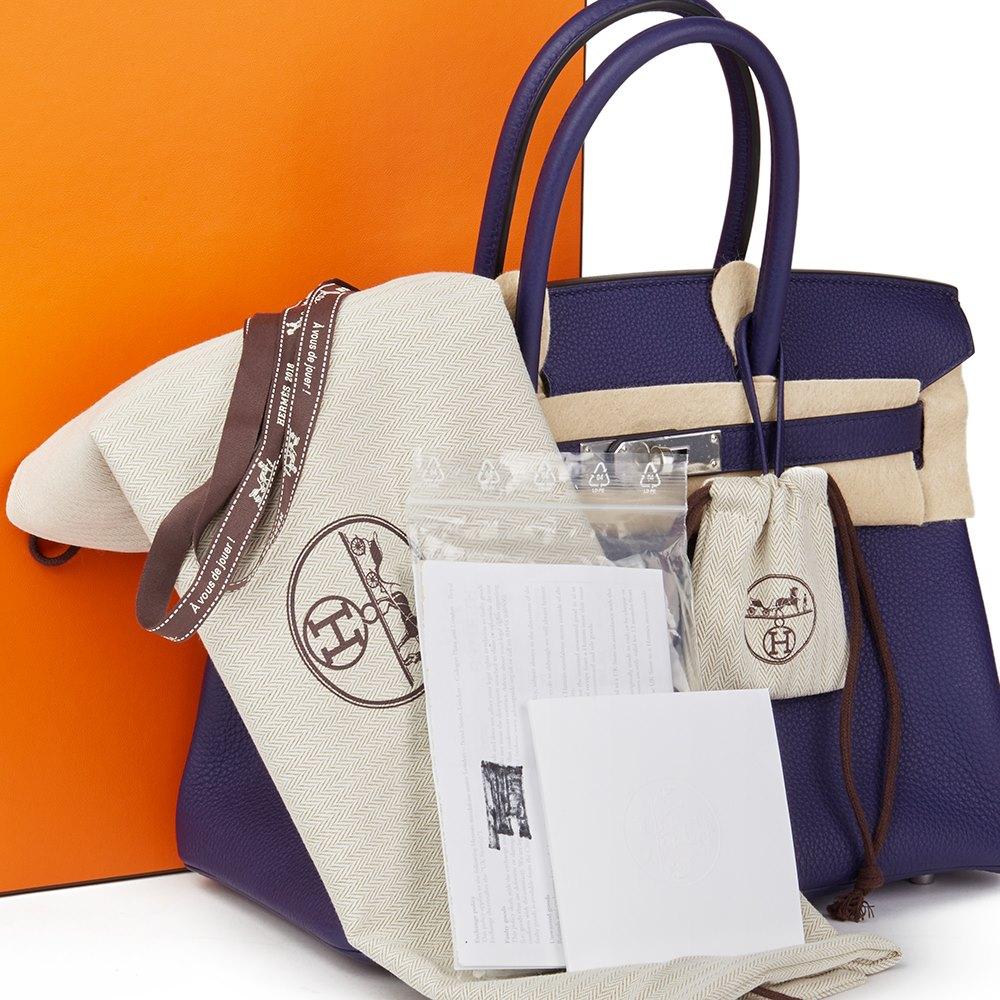 f0e96bdfb1 Hermès Bleu Encre Togo Leather Birkin 30cm
