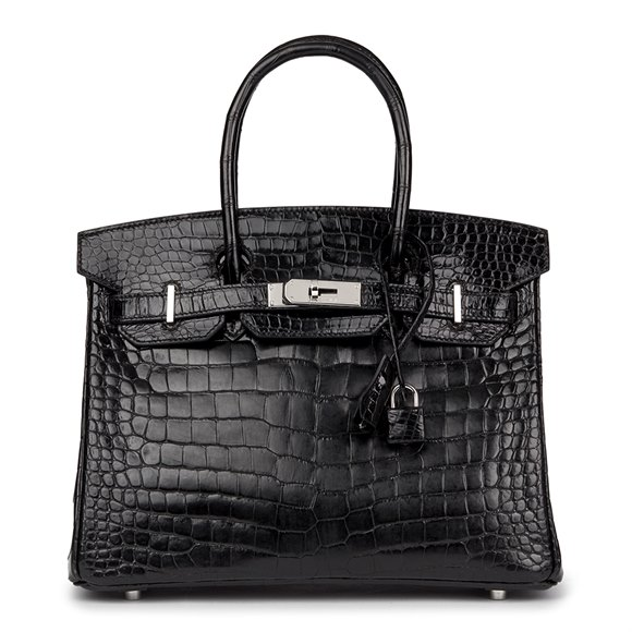 Hermès Black Shiny Porosus Crocodile Leather Birkin 30cm