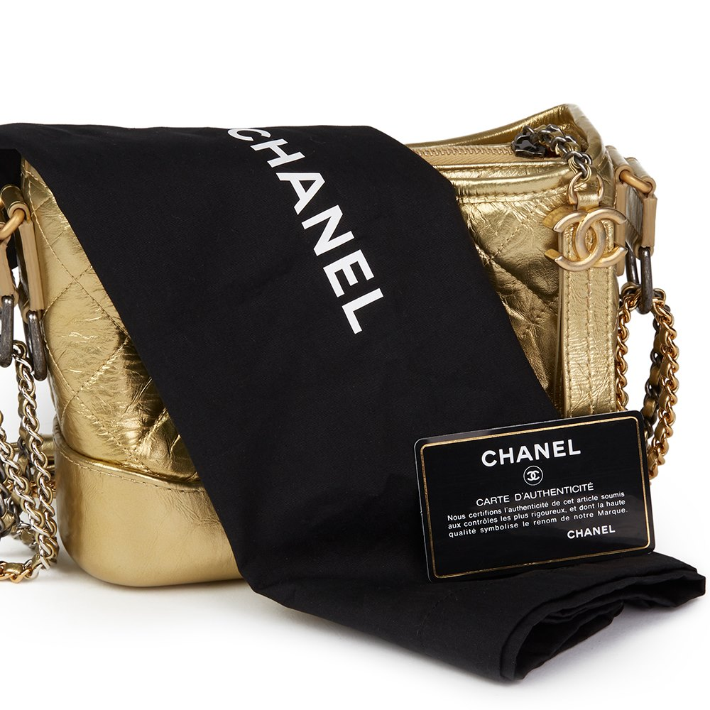 c5bf41e09299 Chanel Gold Quilted Metallic Aged Calfskin Leather Small Gabrielle Hobo Bag