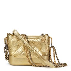 Chanel Gold Quilted Metallic Aged Calfskin Leather Small Gabrielle Hobo Bag