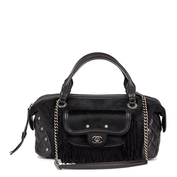 Chanel Black Quilted Calfskin, Suede & Pony Fur Paris-Dallas Boston Bag