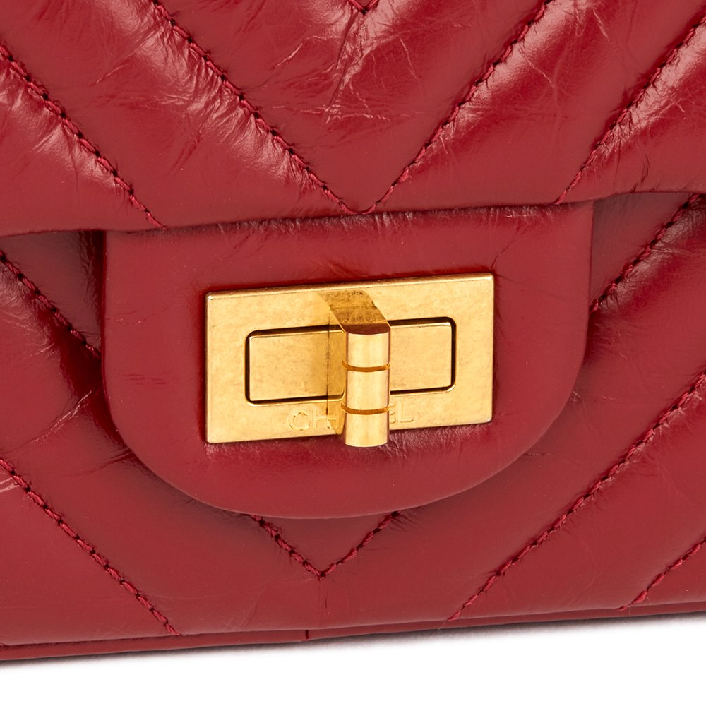 1883932ad3aa Chanel Dark Red Chevron Quilted Aged Calfskin Leather 2.55 Reissue 226  Double Flap Bag