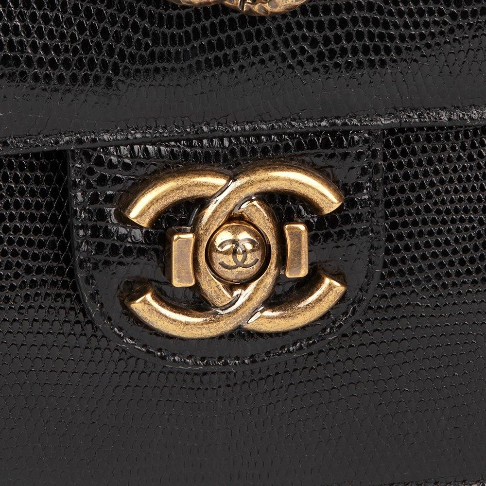 72ec0717a878 Chanel Black Lizard   Quilted Lambskin Medium Perfect Edge Classic Flap Bag