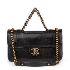 Chanel Black Lizard & Quilted Lambskin Medium Perfect Edge Classic Flap Bag