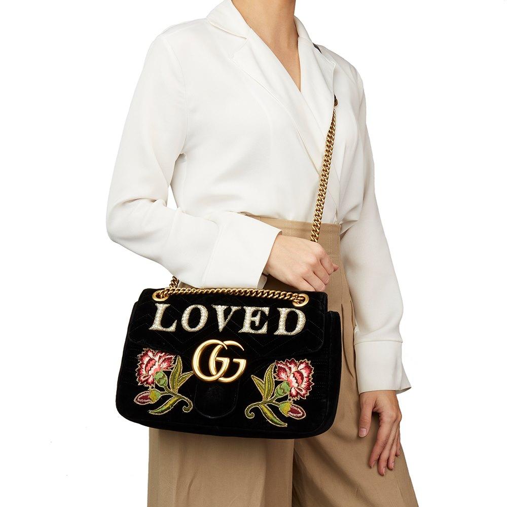 60ca3e57a938 Gucci Black Quilted & Embellished Velvet 'Loved' Medium Marmont