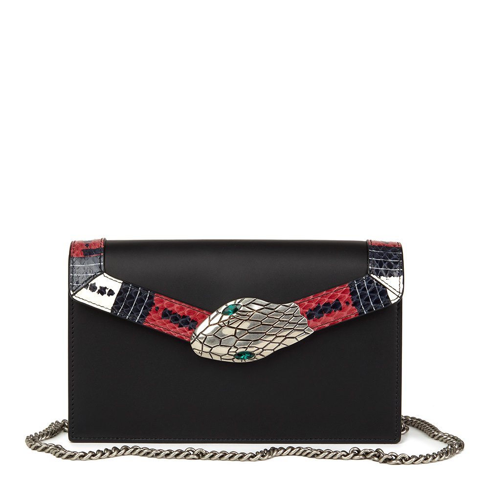 d0ad3f80f5f Gucci Black Smooth Calfskin Leather   Snakeskin Trim Lilith Shoulder Bag