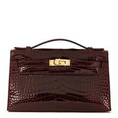 Hermès Bordeaux Shiny Alligator Leather Kelly Pochette