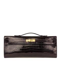 Hermès Aubergine Shiny Porosus Crocodile Leather Kelly Cut