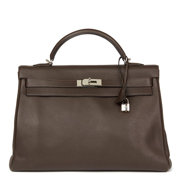 Hermès Chocolate Brown Clemence Leather Kelly 40cm Retourne