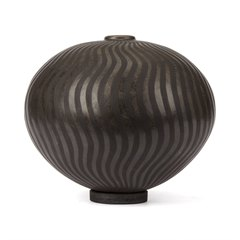IILONA SULIKOVA RAKU FIRED BLACK STUDIO POTTERY VASE 20TH C
