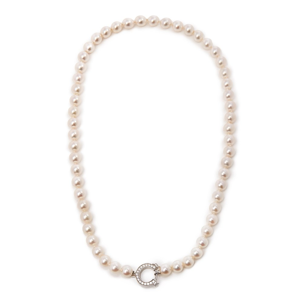Cartier 18k White Gold Akoya Pearl & Diamond Agrafe Necklace