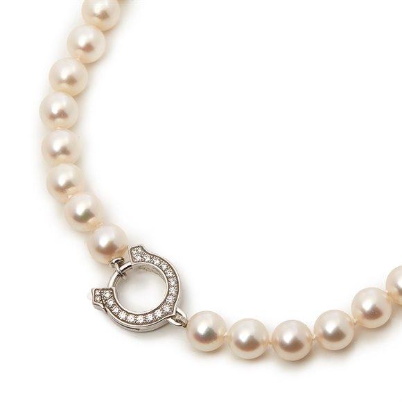 18k White Gold Akoya Pearl & Diamond Agrafe Necklace
