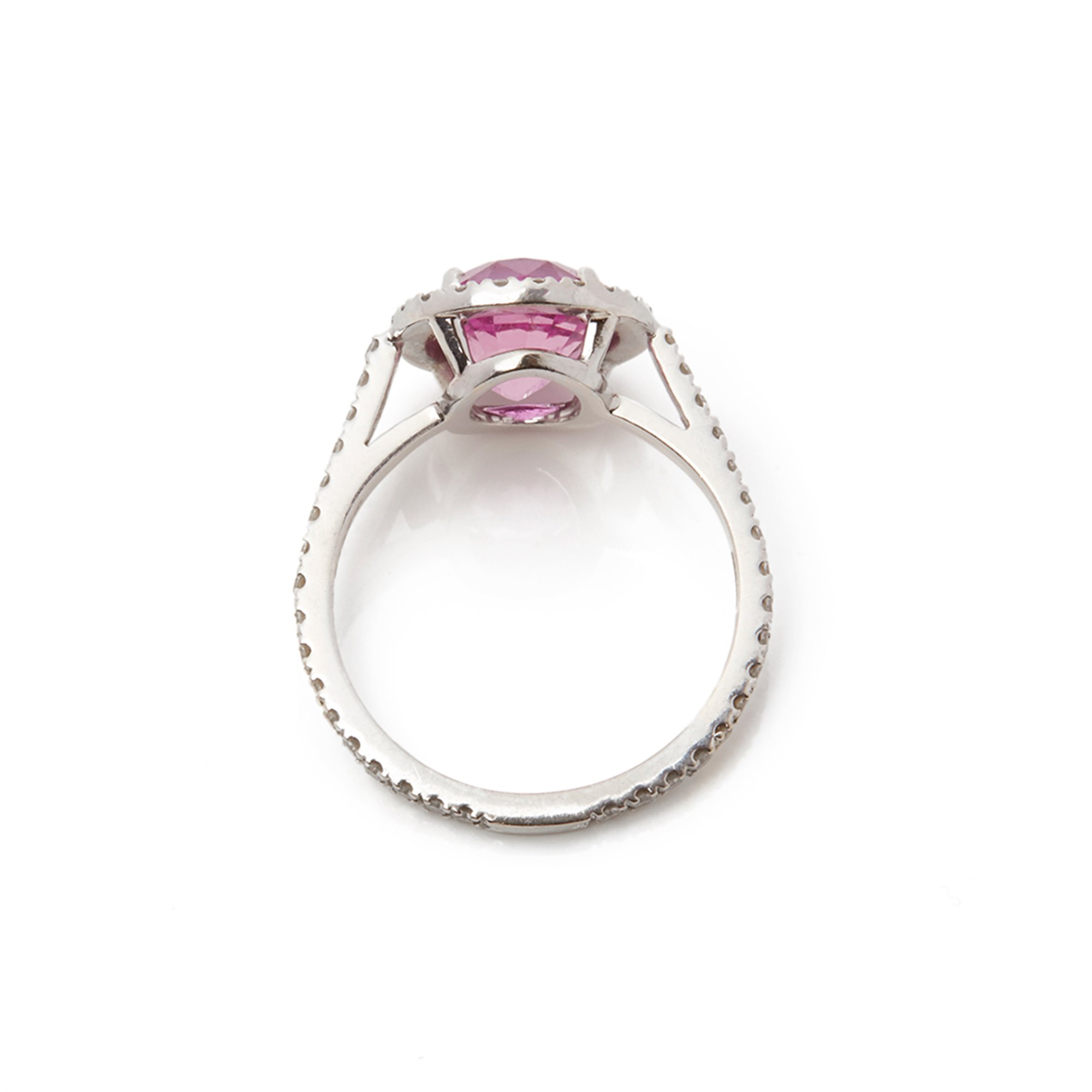 David Morris 18k White Gold Pink Sapphire & Diamond Cocktail Ring