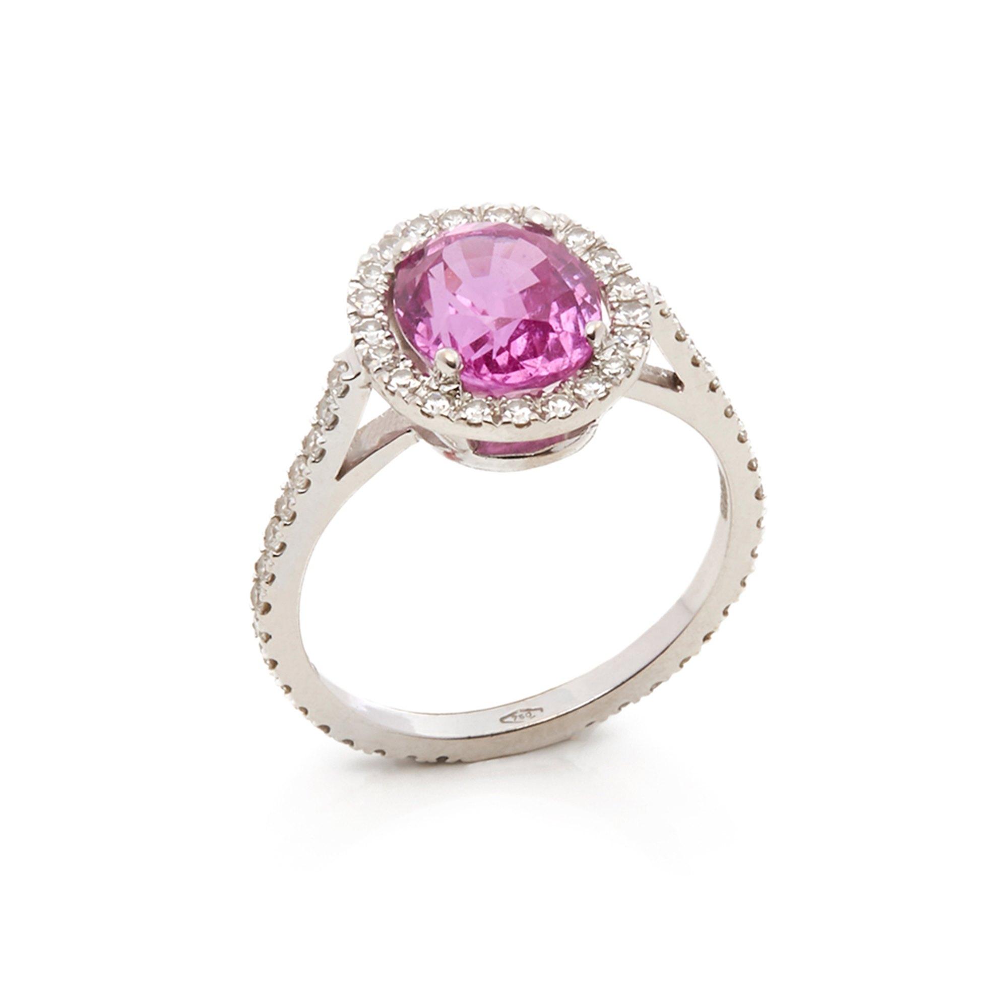 David Morris 18k White Gold Pink Sapphire & Diamond Cocktail Ring