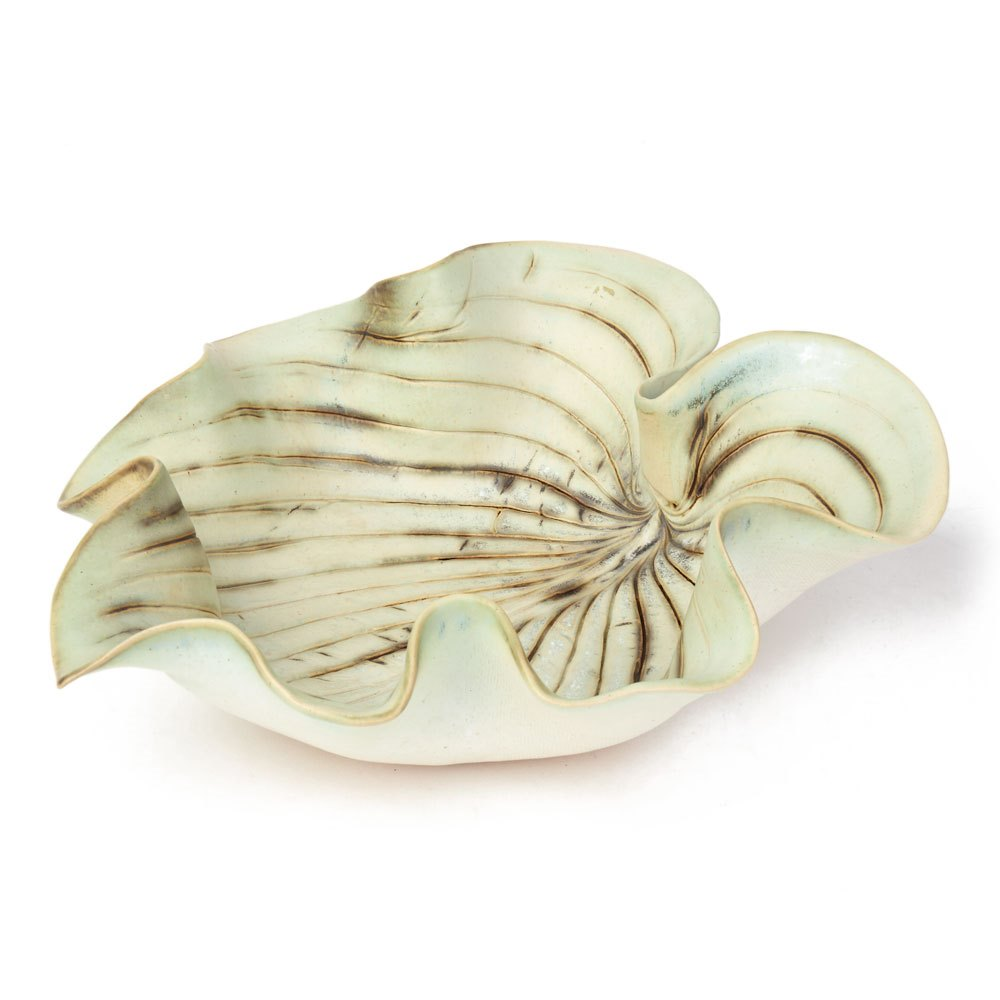 ANGELA MELLOR STUDIO CERAMIC GREEN GLAZED LEAF SHAPED BOWL 20th Century