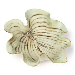 ANGELA MELLOR STUDIO CERAMIC GREEN GLAZED LEAF SHAPED BOWL