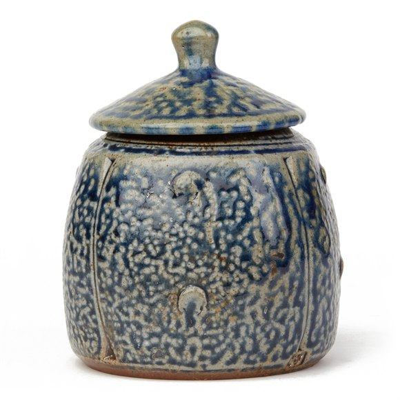 JOHN JELFS UNUSUAL STUDIO POTTERY SALT GLAZED LIDDED JAR