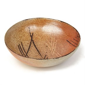 SONIA LEWIS WOOD FIRED DECORATED STUDIO POTTERY BOWL