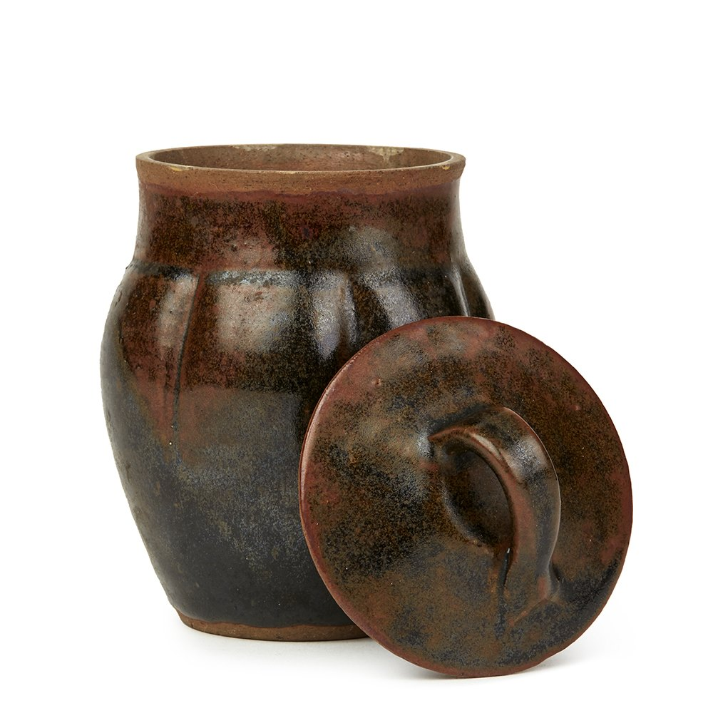 SONIA LEWIS STUDIO POTTERY BROWN GLAZED LIDDED JAR 20th Century