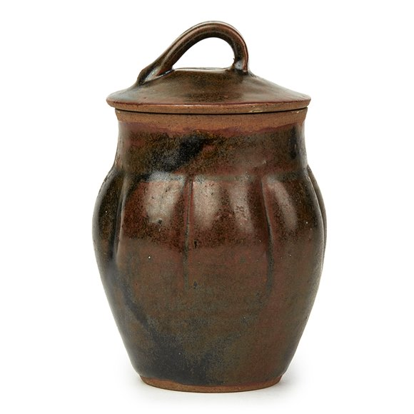 SONIA LEWIS STUDIO POTTERY BROWN GLAZED LIDDED JAR