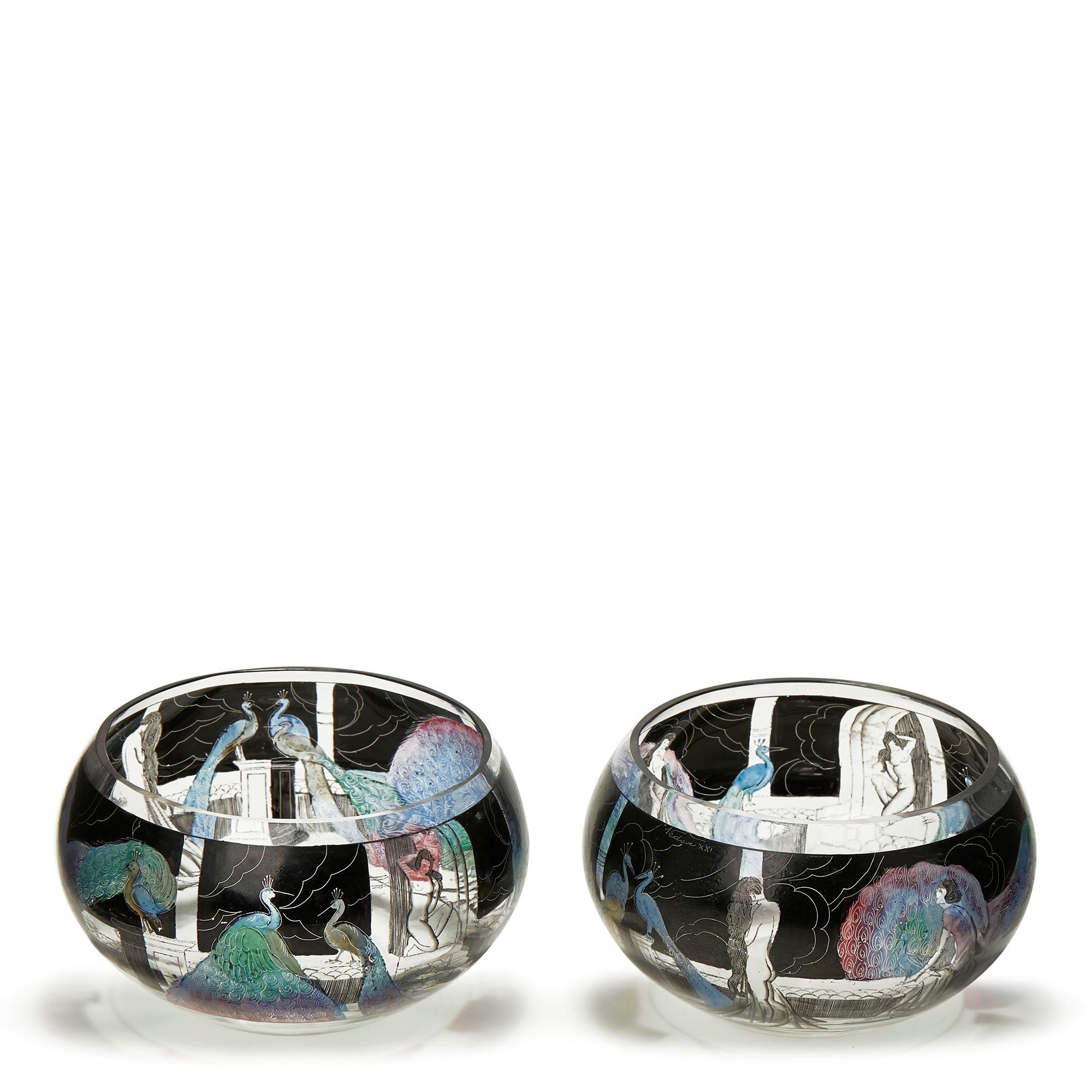 PAIR ITALIAN ART DECO VETRI D'ARTE ENAMELED GLASS BOWLS Circa 1925-1933