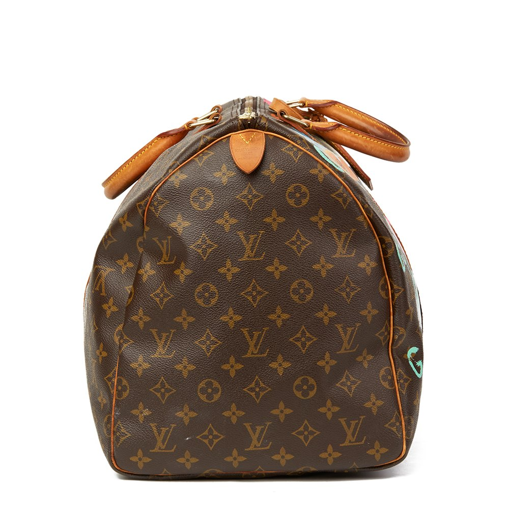 Louis Vuitton Xupes X Year Zero London Hand-painted '17th Century Snob' Brown Coated Monogram Canvas Vintage Keepall 55