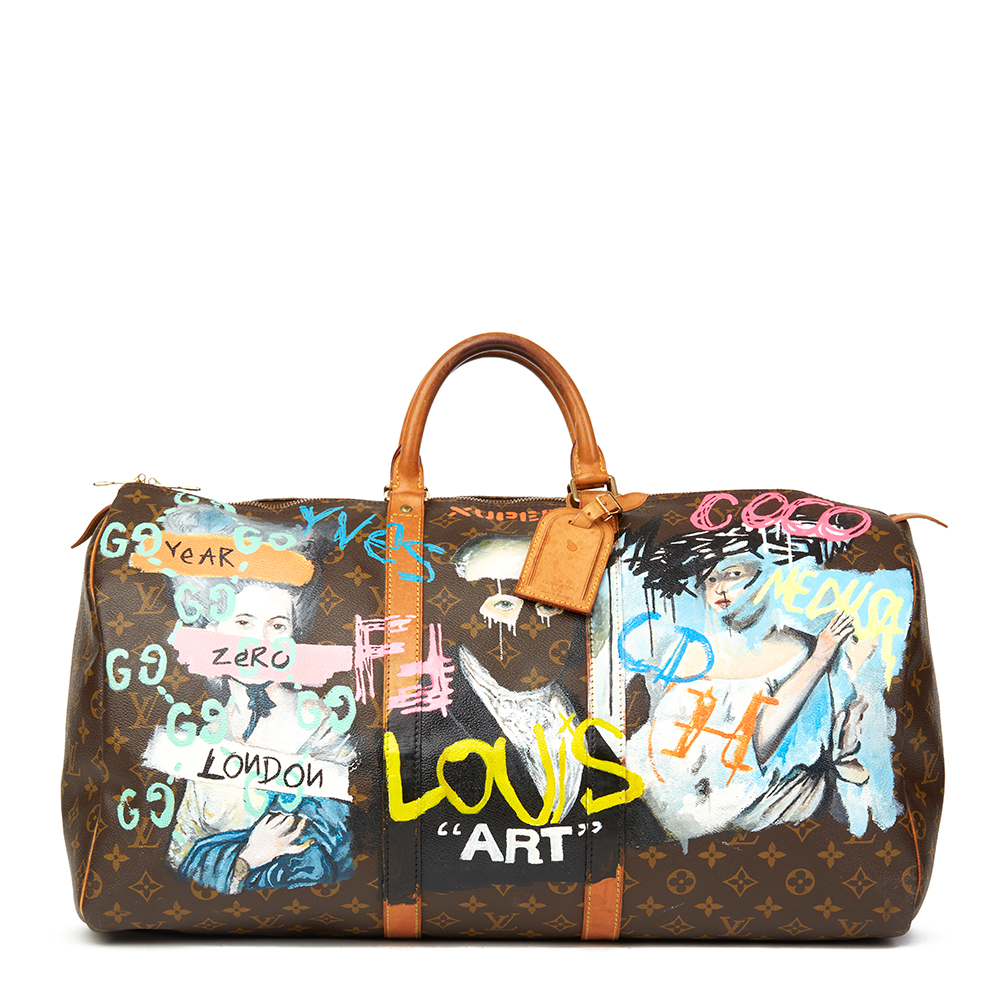 d6e9cf7318 Louis Vuitton Xupes X Year Zero London Hand-painted '17th Century Snob'  Brown Coated Monogram Canvas Keepall 55