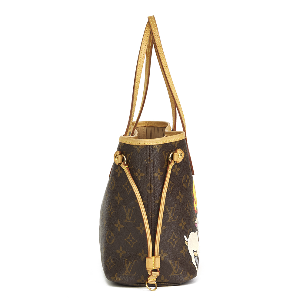 291d4068d117f Louis Vuitton Xupes X Year Zero London Hand-painted  Satan Loves Me  Brown  Monogram Coated Canvas Neverfull PM