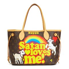 Louis Vuitton X Year Zero London Hand-painted 'Satan Loves Me' Brown Monogram Coated Canvas Neverfull PM