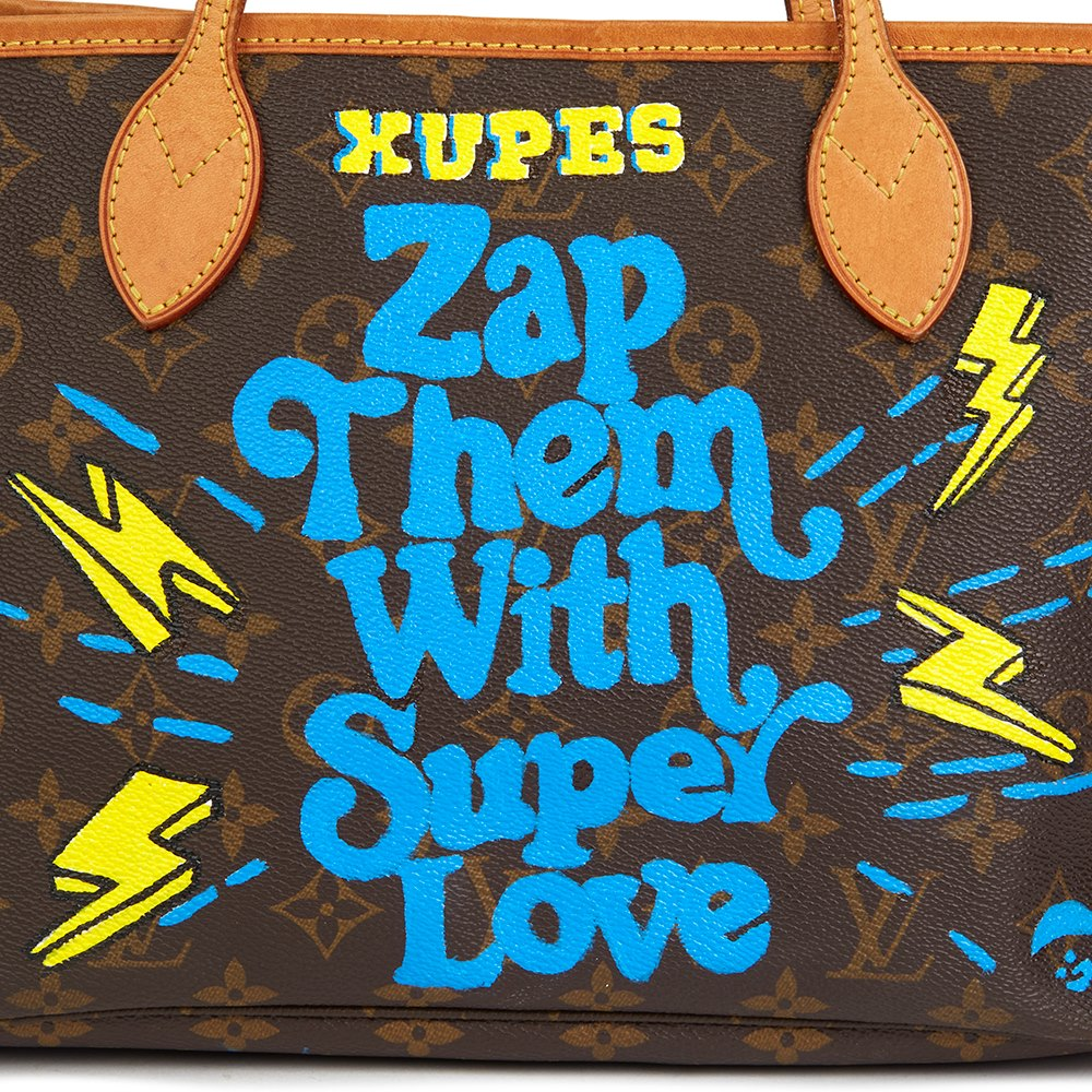 Louis Vuitton Xupes X Year Zero London Hand-painted 'Zap Them with Super Love' Brown Monogram Coated Canvas Neverfull PM
