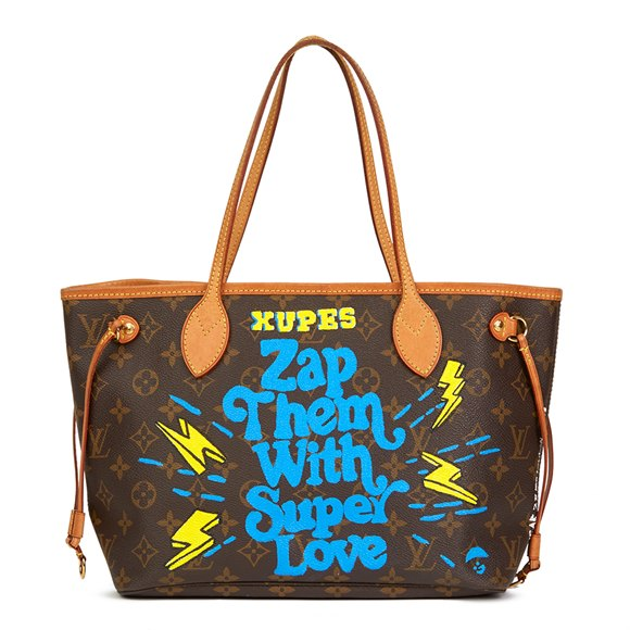 Louis Vuitton X Year Zero London Hand-painted 'Zap Them with Super Love' Brown Monogram Coated Canvas Neverfull PM