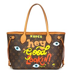 Louis Vuitton Xupes X Year Zero London Hand-painted  'Hey Good Lookin' Brown Monogram Coated Canvas Neverfull PM