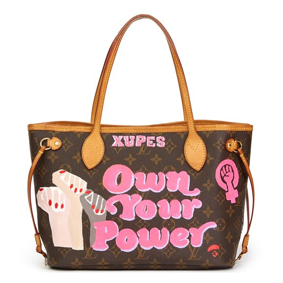 Louis Vuitton Xupes X Year Zero London Hand-painted 'Own Your Power' Brown Monogram Coated Canvas Neverfull PM
