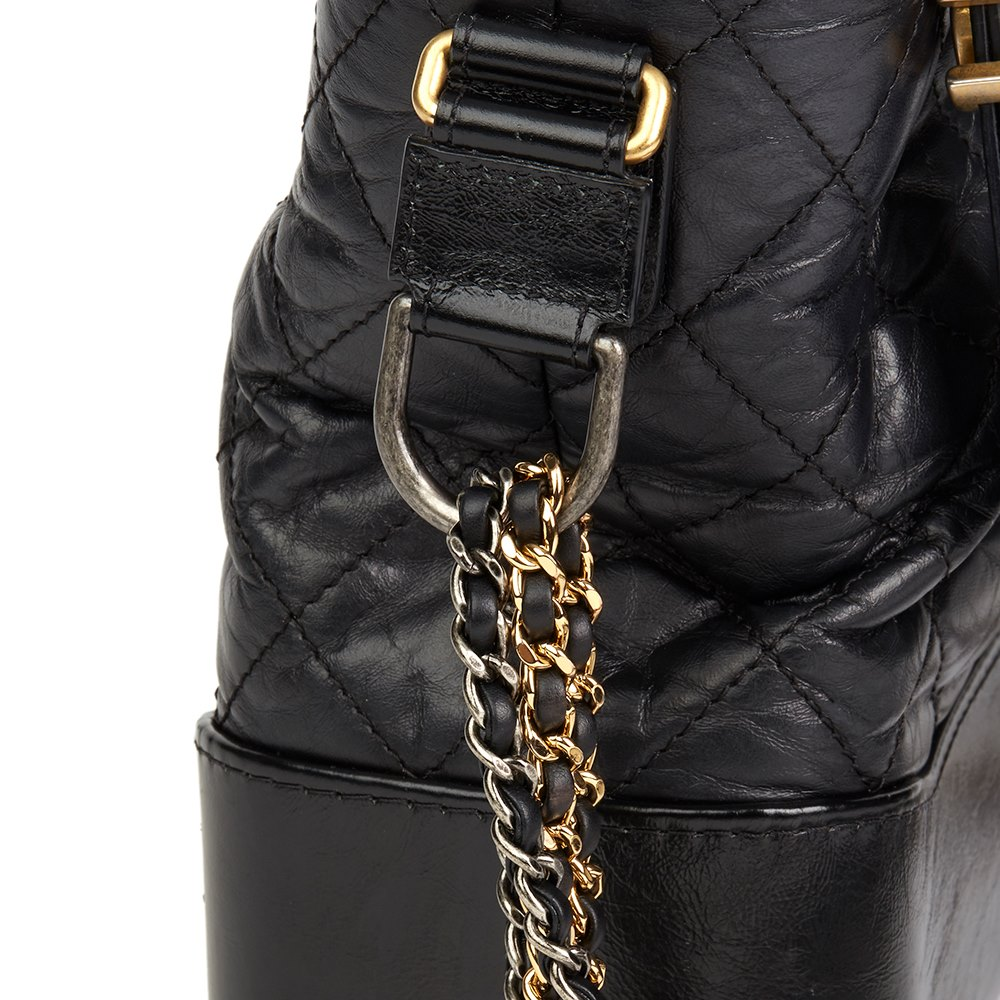 Chanel Black Quilted Aged Calfskin Leather Gabrielle Hobo Bag
