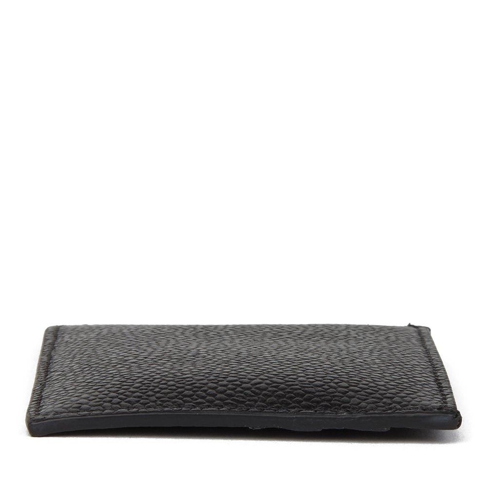Thom Browne Black Pebble Grained Calfskin Leather Stripe Cardholder