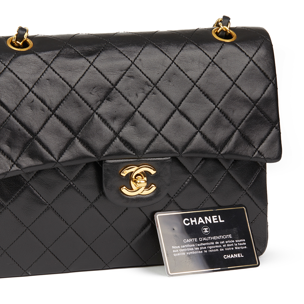 1ee551e03240 Chanel Black Quilted Lambskin Vintage Medium Tall Classic Double Flap Bag
