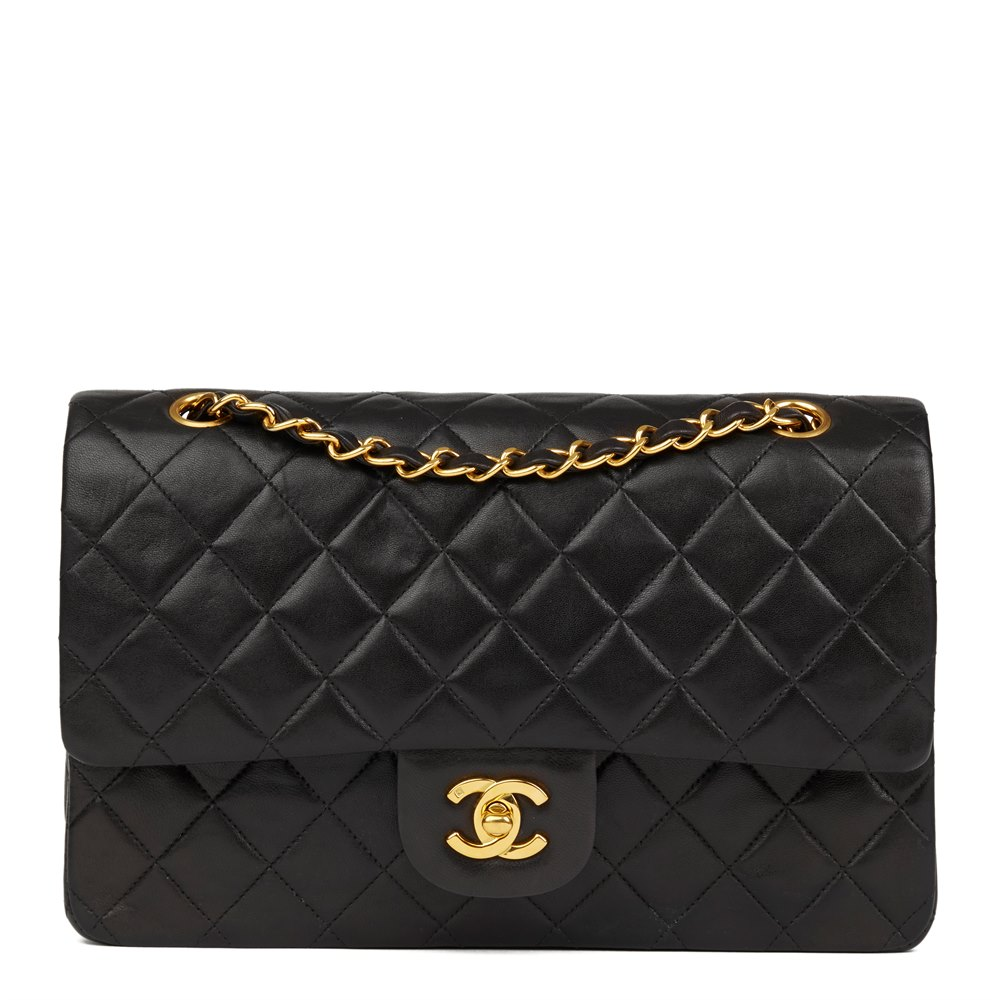 4fda6f68fa7e5 Chanel Black Quilted Lambskin Vintage Medium Classic Double Flap Bag