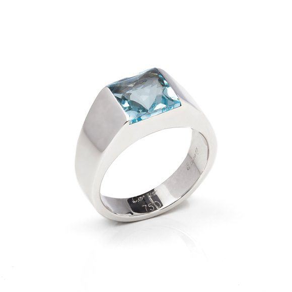 Cartier 18k White Gold Large Aquamarine Tank Ring