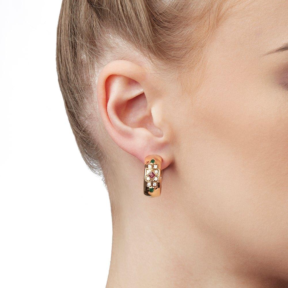 Cartier 18k Yellow Gold Diamond, Ruby & Emerald Byzanite Earrings