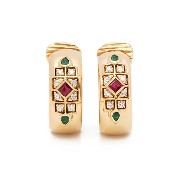 Cartier 18k Yellow Gold Diamond, Ruby & Emerald Byzanite Earrings